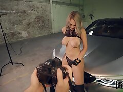 Alluring busty Gabbie Carter seduces board and gives BJ in the parking quantity