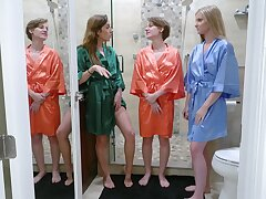 Hot ass teen Harlowe West and her best friends fucked by one mendicant