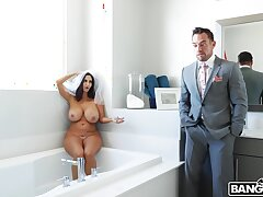 Naughty wife Ava Addams masturbates in the bathroom and gets dicked