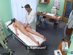 Doctor prescribes an off colour rub down for sexy blonde patient