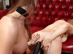 Lovely girl is anally strap-on fucked by her girlfriend