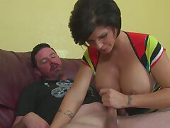 Skillful MILF Shay Fox uses her consequential breasts to make a male cum