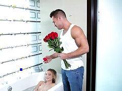 Naughty swain gives her boyfriend a blowjob - Dakota Skye