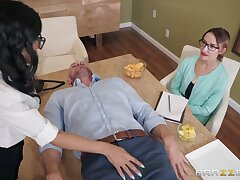Horny brunette fro glasses Tia Cyrus gets into pants of attracting baldie Johnny Castle