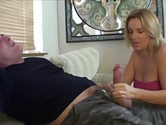 Mustached man receives a blowjob hard by stepdaughter and his wife