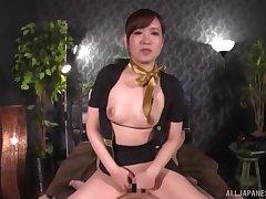 Clothed cock riding session with Japanese secretary Natsuki Minami