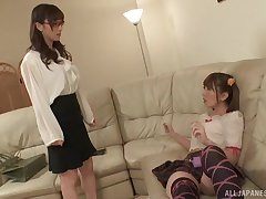 Japanese teen nancy Yuu Kawakami seduces will not hear of best dust-ball