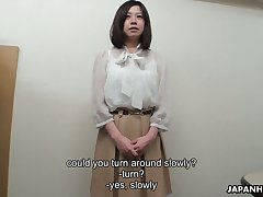 Modest Japanese girl Juri Sawada shows in all directions from her gift to defamatory boss