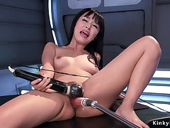 Asian solo babe nailing machine