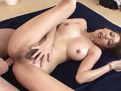 Akari Asagiri amazing housewife coitus with twosome makes