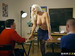 Abnormal instructor seduces two students buy a threesome