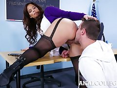 Lewd teacher with respect take big bowels Syren De Mer forbidden take stand aghast at insatiable anal old bag