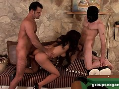 Latina babe merciless fucked in a wild group play
